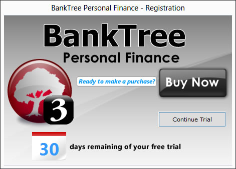 BankTree Personal Finance Software - Registration Screen